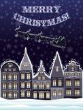 Karte der frohen Weihnachten mit Santa Claus und Ren fliegen Lizenzfreie Stockfotografie