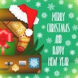 Karte der frohen Weihnachten mit Schneeflocken Stockfotografie