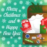 Karte der frohen Weihnachten mit Schneeflocken Santa Claus-Reisekoffer Santa Claus-Elemente Stockfoto