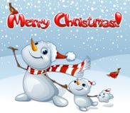 Karte der frohen Weihnachten mit Schneemannfamilie Stockfotos