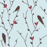 Karte der frohen Weihnachten mit Vögeln Lizenzfreie Stockfotografie