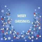Karte der frohen Weihnachten mit Wald, Tiere, Schnee, Gekritzelart Auch im corel abgehobenen Betrag Lizenzfreie Stockfotos