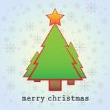 Karte der frohen Weihnachten mit 3 Weihnachtsbäumen Stockfoto