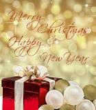 Karte der frohen Weihnachten u. des guten Rutsch ins Neue Jahr mit Geschenkbox Lizenzfreies Stockfoto