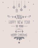 Karte der frohen Weihnachten und des guten Rutsch ins Neue Jahr Lizenzfreies Stockbild