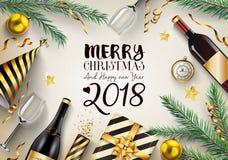Karte der frohen Weihnachten und des guten Rutsch ins Neue Jahr 2018 mit Tannenzweigen und Elementen Lizenzfreie Stockbilder