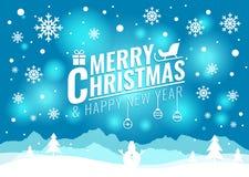Karte der frohen Weihnachten und des guten Rutsch ins Neue Jahr - Weihnachtsbaum und Schneeschneemann auf Blaulichthintergrundvek Lizenzfreie Stockbilder
