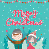 Karte der frohen Weihnachten und des neuen Jahres im Vektor lizenzfreie abbildung