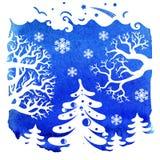 Karte der frohen Weihnachten, Winterlandschaft Lizenzfreie Stockfotografie