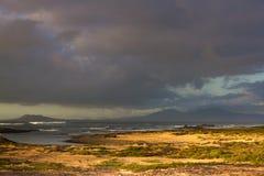 Karte der Insel von Lanzarote, das zur Insel von Lobos, Spanien sich öffnet lizenzfreie stockfotografie