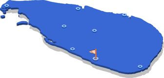 Karte der isometrischen Ansicht 3d von Sri Lanka mit blauer Oberfläche und Städten vektor abbildung