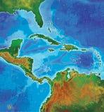 Karte der karibischen Inseln der Farbe Stockbilder