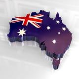 Karte der Markierungsfahne 3d von Australien Lizenzfreie Stockfotos