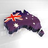 Karte der Markierungsfahne 3d von Australien Stockbilder