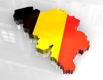 Karte der Markierungsfahne 3d von Belgien Lizenzfreie Stockfotografie