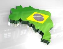 Karte der Markierungsfahne 3d von Brasilien Lizenzfreie Stockfotografie