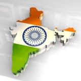 Karte der Markierungsfahne 3d von Indien Lizenzfreie Stockfotografie