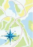 Karte der Reise auf den Wäldern. Stockbilder