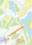 Karte der Reise auf den Wäldern. Vektor. Lizenzfreies Stockfoto