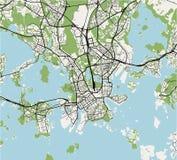 Karte der Stadt von Helsinki, Finnland lizenzfreie abbildung