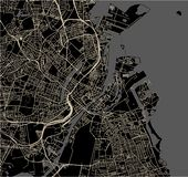 Karte der Stadt von Kopenhagen, Dänemark stockfoto