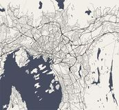 Karte der Stadt von Oslo, Norwegen lizenzfreie abbildung