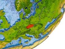 Karte der Tschechischen Republik auf Erde Stockfotos