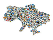 Karte der Ukraine-Collage gebildet von den Reisenfotos Stockbilder