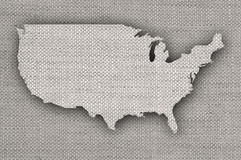 Karte der USA auf altem Leinen stockbild