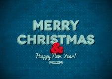 Karte der Weinlese-frohen Weihnachten mit Kratzern Lizenzfreie Stockfotos