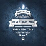 Karte der Weinlese-wünschen dunkelblaue modische frohen Weihnachten und neues Jahr Gruß Lizenzfreies Stockbild