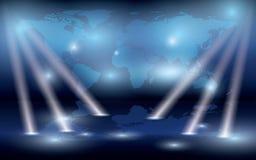 Karte der Welt auf der Wand und den Leuchten - ENV Stockfotos