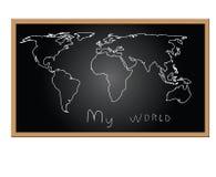 Karte der Welt an Bord Stockfotografie