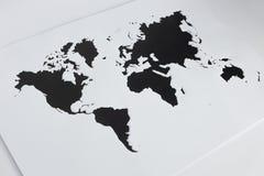 Karte der Welt Herausgeschnittenes Papier Lizenzfreies Stockbild