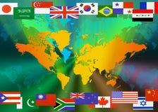 Karte der Welt mit Markierungsfahnen Lizenzfreie Stockbilder