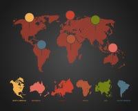 Karte der Welt mit Schatten Stockfotografie