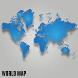 Karte der Welt mit Schatten Stockfotos