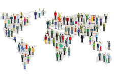 Karte der Welt und der Leute Lizenzfreie Stockfotografie