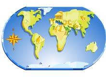 Karte der Welt und des Kompassses Stockbild