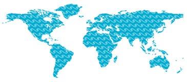 Karte der Welt - Wellen Stockfotografie