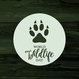 Karte der Weltwild lebenden tiere Tages Lizenzfreie Stockfotografie