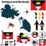 Karte des Antigua und Barbuda Stockfotos