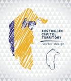Karte des australische Hauptstadt-Gebiets mit Hand gezeichneter Skizzenstiftkarte nach innen Auch im corel abgehobenen Betrag Stockbilder