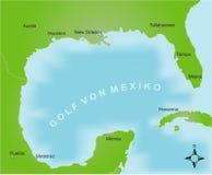 Karte des Bereiches des Golfs von Mexiko vektor abbildung