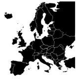Karte des Europa-Schwarzen Lizenzfreie Stockfotografie