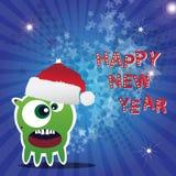 Karte des glücklichen neuen Jahres mit Monster Stockbild