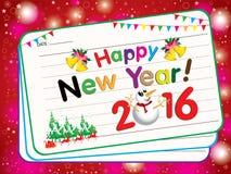 Karte des guten Rutsch ins Neue Jahr-2016 auf rosa Schneehintergrund Mit neues Jahr Partei und Santa Claus auf rotem Hintergrund Lizenzfreie Stockfotos