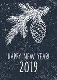 Karte des guten Rutsch ins Neue Jahr 2019 Hintergrund mit Kiefernniederlassungen und -kegel lizenzfreies stockfoto