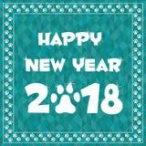 Karte des guten Rutsch ins Neue Jahr 2018 im Tatzengrenzrahmen Stockfotografie