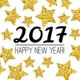 Karte des guten Rutsch ins Neue Jahr 2017 mit Gold maserte den Stern, der auf weißem Hintergrund lokalisiert wurde lizenzfreie abbildung